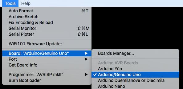 Select Arduino Uno